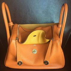 Hermes Lindy Éclat Clemence 34 Orange/Moutard  Stamp P