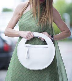Blanc en cuir véritable sac à main d'embrayage / haute qualité pochette sac / Genuine Leather Bag / main accessoire fabriqué par EUGfashion