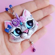Custom Pet Portrait Unikitty Unicorn Cat necklace by FleurDeLapin