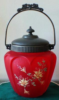Victorian Antique Cranberry Red Glass Biscuit Cracker Jar | eBay