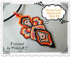 "Necklace listing in my Etsy shop for only $39: ""Sunset Cross Pendant with cord"" - Brick stitch woven pendant - One of A Kind Design. Please follow this link for more info: https://www.etsy.com/listing/168798620/pen-001-sunset-cross-pendant-with-cord?ref=shop_home_active"