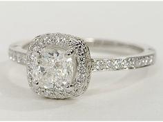 Halo Diamond Engagement Ring in 18K White Gold