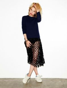 Clemence Poesy for Madame Figaro in a sheer polka dot skirt and Adidas 'Stan Smith' sneakers #style #fashion