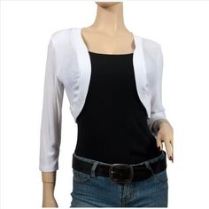 Plus Size White 3/4 Sleeve Cropped Bolero Shrug eVogues Apparel. $19.99