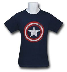 We wants it.  Images of Captain America Distressed Shield Navy T-Shirt