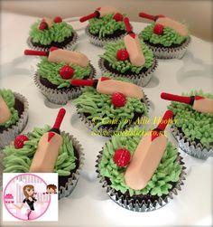 Cricket ball and bat cupcakes