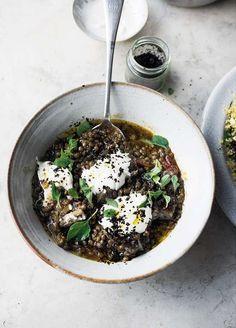 Yotam Ottolenghi Puy Lentil & Aubergine Stew   Recipe from SIMPLE Ottolenghi Recipes, Yotam Ottolenghi, Lentil Stew, Lentil Salad, Moussaka, Midweek Meals, Easy Meals, Otto Lenghi, Side Dishes