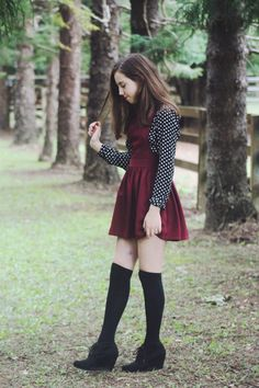 Adorable fall outfit. Black top with white polka-dots- Popbasic, wine colored overall dress- Topshop pinafore, black knee-high socks and black wedge shoes from target.