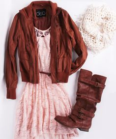 layered dressy outfit - lace dress with leather jacket and matching boots