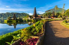 Pura Ulun Danu Bratan at sunrise, famous temple on the lake, Bedugul, Bali
