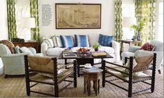 So many elements here – linen, slipcovers, seagrass (apple matting actually,) curtains, wall décor!
