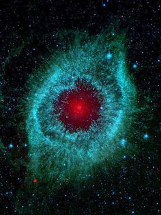 Space And Astronomy ~~Dust and the Helix Nebula ~ Dust makes this cosmic eye look red. The eerie Spitzer Space Telescope image shows infrared radiation from the well-studied Helix Nebula (NGC a mere 700 light-years away in the constellation Aquarius Cosmos, Constellations, Telescope Images, Spitzer Space Telescope, Helix Nebula, Planetary Nebula, Horsehead Nebula, Orion Nebula, Space Photos