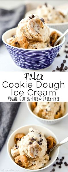 Vegan & Paleo Cookie Dough Ice Cream! A healthy & delicious dessert recipe absolutely loaded with chunks of cookie dough! Gluten, dairy & refined sugar free!