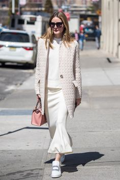 Olivia Palermo Nails Head-to-Toe White - April 10, 2017