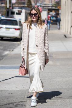 Olivia Palermo Nails Head-to-Toe White - April 10, 2017
