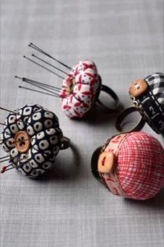Cute handmade mini ring pincushion. #BeyondMeasure #sewing #pincushion Pincushions, Haberdashery, Stitches, Sewing, Create, Mini, Fabric, Handmade, Tejido
