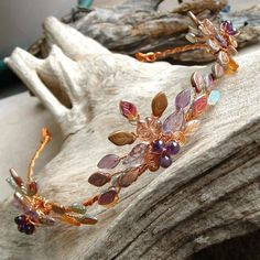 Autumn Flame Amethyst and Copper Tiara Circlet Crown
