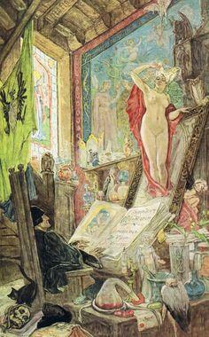 Incantation - Félicien Rops illustration in Son Altesse La Femme by Octave Uzanne