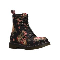 Women's Dr. Martens 1460 8-Eye Boot - Black Victorian Flowers Casual ($100) ❤ liked on Polyvore featuring shoes, boots, black, casual, originals, leather work boots, slip resistant boots, black work boots, lace up boots and slip resistant shoes