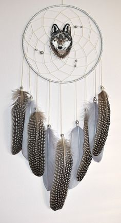 Native American Style Dream Catcher, Wolf Dream Catchers Decor, Wall Hanging Dreamcatchers, Silver Gray Home  Bedroom Decor
