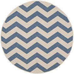 Safavieh Indoor/ Outdoor Courtyard Blue/ Beige Rug (4' Round)   Overstock.com Shopping - Great Deals on Safavieh Round/Oval/Square