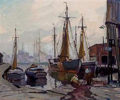 """Italian Docks, Gloucester,"" Emile Albert Gruppe, oil on canvas, 25 x 30"", private collection."
