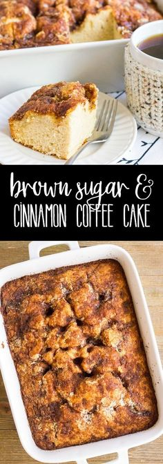 My Dad's Brown Sugar & Cinnamon Coffee Cake recipe is the best breakfast treat! It's easy to make, tastes amazing & perfect for when you have company in town! via @breadboozebacon