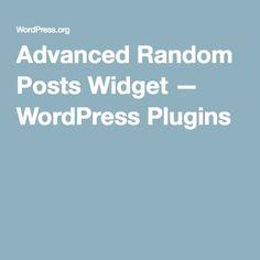 Advanced Random Posts Widget — WordPress Plugins