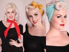 Pinup hair, penteado pinup, be a bombshell, pin up, scarf 40s Hairstyles, Scarf Hairstyles, Curled Hairstyles, Vintage Hairstyles, Wedding Hairstyles, Sweet Hairstyles, Classy Hairstyles, Hairstyle Ideas, Retro Updo