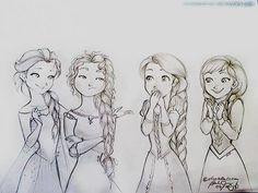 Elsa, Merida, Repunzel, Anna all with braids