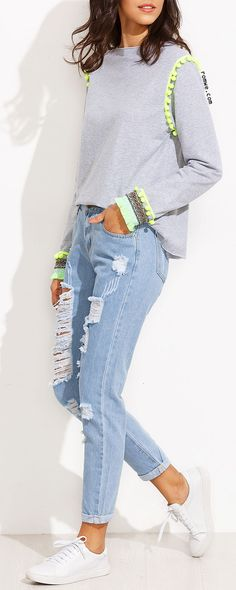 Comfortable Style - Blue Distressed Roll Hem Jeans with grey sweatshirt and sneakers