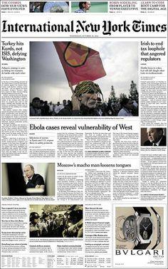 """""""Catalunya fa un viratge en la secessió"""", a la portada del 'The New York Times' - elsingular.cat, 15/10/2014. La premsa internacional es fa ressò avui del pla B del president de la Generalitat, Artur Mas, de posar urnes el 9 de novembre amb una nova versió de la consulta i unes eleccions plebiscitàries, que serien la """"consulta definitiva"""" tal i com va dir ahir al matí. La notícia apareix en un breu a la portada de l'edició internacional del 'The New York Times': """"Catalunya fa un viratge""""."""