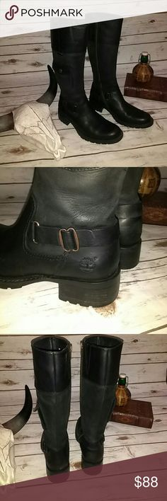 Timberland  pocket harness boots Unbelievably soft leather. Worn once, like new. These are some seriously awesome Moto type boots with great detailing. Timberland Shoes Combat & Moto Boots