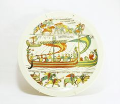 Battle of Hastings Vintage Handpainted Plate Depicting 3 Scenes of the Bayeux Tapestry, Anglo Saxon Art, Decorative Art, Limoges, France, Colorful Medieval Art - pinned by pin4etsy.com
