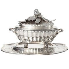 1stdibs | Danish Silver Soup toureen and Plate 1853