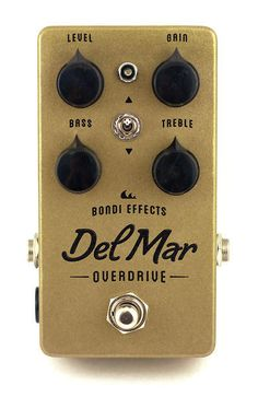 Bondi Effects – Del Mar Overdrive | The character of the drive can be selected via toggle switches for a compressed, mid-focused drive, or a more open, flatter EQ with an emphasis on the highs. The tone controls are active instead of the standard 'tone' knob. This gives you the ability to boost or cut both bass and treble individually, providing you with incredible control over your eq. The whole circuit is internally boosted to 18 volts, providing maximum headroom and clarity.