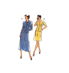 90s Kwik Sew 2553 Long or Short Sleeve Blouse Jacket and A-Line Skirt in Two Lengths, Uncut, Factory Folded, Sewing Pattern Multi Size XS-XL