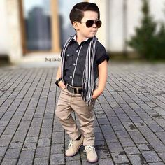 Light brown shoes and pants,polka dots black and white shirt and scarf.adorable boy dressed up Fashion Kids, Little Boy Fashion, Baby Boy Fashion, Toddler Wedding Outfit Boy, Baby Boy Dress, Designer Kids Wear, Designer Kids Clothes, Boys Dress Outfits, Kids Outfits