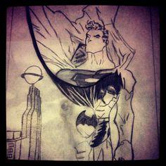 Batman&Superman #batman #superman #city #çizim