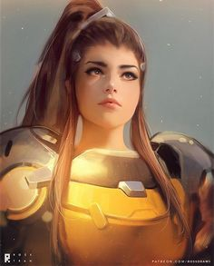 regram @rossdraws Drew a realistic portrait of Brigitte for this weeks vid!! Had so much fun with this and Im glad Im slowly learning to pronounce her name correctly . Hope you enjoy it! Video link in my Bio - #BAGUETTE #brigitte #art #overwatch #digitalart #fanart #illustration #portrait