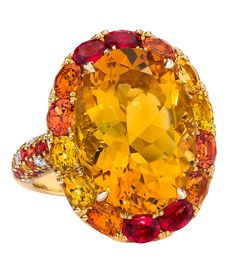 Oval Citrine and Orange Sapphire Ring