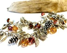 Autumn Love Swarovski Crystal and Pine Cone Autumn Charm Bracelet, Colors of Fall Trendy Jewelry by YoursTrulli on Etsy