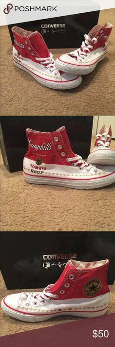 fb5e56a01dfb7f Andy Warhol Cambells Tomato soup high top Converse High tops. New in box.  Unisex. Converse Shoes Sneakers