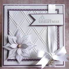White Christmas card from Debby Yates Homemade Christmas Cards, Christmas Cards To Make, Xmas Cards, Handmade Christmas, Homemade Cards, Holiday Cards, Christmas Crafts, Crochet Christmas, Poinsettia Cards
