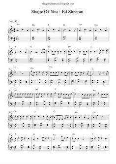 Free piano sheet music: Shape Of You-Ed Sheeran.pdf Your love was handmade for somebody like me The club isn't t...