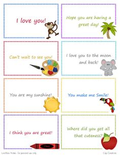GREAT FREEBIE! Cap Creations: Free Printable Lunchbox Note Cards
