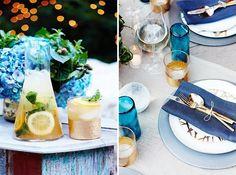 Gold and blue table setting // mesa para fiesta | Casa Haus