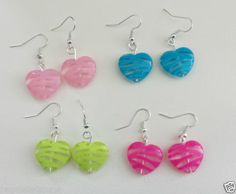 Pendientes-corazon-Tibetan-silver-earrings-jewelry-Neon-Heart-Striped-Acrylic