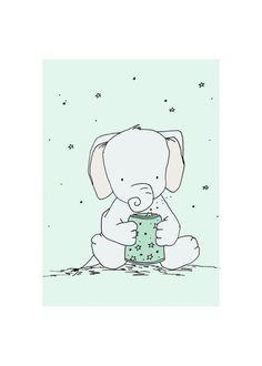 Elephant Star Jar Elephant Nursery Art Print by SweetMelodyDesigns, $10.00 Elephant Nursery Art, Elephant Love, Elephant Illustration, Cute Illustration, Baby Doodle, Art Wall Kids, Art For Kids, Art Children, Image Deco