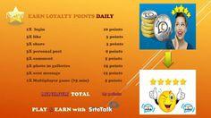 NOU ! Acum postarile tale in SiteTalk sunt recompensate ! Join free www.sitetalk.com/manda21mai Social Networks, Social Media, Daily C, 10 Points, Loyalty, Messages, Album, Join, Play